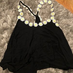 Black Sunflower Tank Top Crop Top